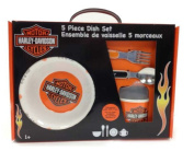 Harley-Davidson® 5-Piece Kid's Dish Set. Ages 1+. Made of Melamine for Durability. BPA Free. 20326L