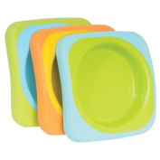 Beaba Soft Plate Set - Stackable with Slip Resistant Base, Set of 3
