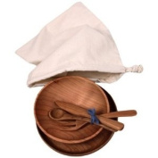 Camden Rose Childs Cherry Wood Place Setting with Muslin Storage Bag