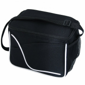 Large Two-Tone 12 Can Insulated Lunch Bag Cooler Durable Nylon, Black with White Accents by BAGS FOR LESSTM