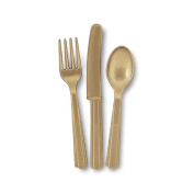 Gold Fork Knife And Spoon Set