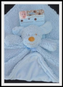 Blankets and Beyond, Adorable Nunu Blue Plush Puppy Lovey Blanket