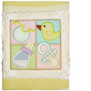 Gift Baby Album Featuring A Yellow Bib, Bird, Bottle, Pacifier -Affordable Gift for your Little One! Item #IA4L-AB-6913