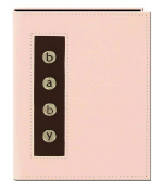 "Pioneer Metal Button ""Baby"" Sewn Leatherette Cover Brag Album, Baby Pink"