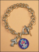 First Communion Confirmation Religious Bracelet with Red Cross on Blue Background He Lives Charm