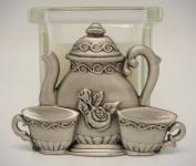 Teapot, Teacup, Creamer w/Glass Candle