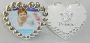 16cm Double Heart Prince Frame - Cream White