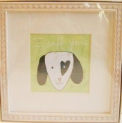 "Dog Baby Wall Art Wood Frame - ""I Ruff you"""