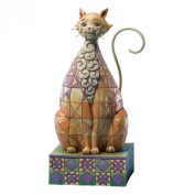 Jim Shore Heartwood Creek Cat with Chequered Pattern Figurine, 17.8cm