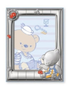 Silver Touch USA Sterling Silver Picture Frame, Choco Bear & Butterflies