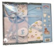 Baby 7 Piece Bath Gift Set - Includes 1 Embroidered Creeper, 1 Printed Bib, 1 Printed Cap, Infant Mittens, 2 Washcloths, & a Brush and Comb