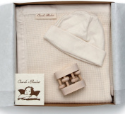 Best Baby Shower Gift Set-Finest Quality Organic Cotton Blanket with Baby Hat and Heirloom Rattle-MADE IN THE USA-GOTS Certified Organic Cotton