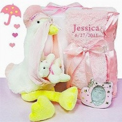 Stork Delivery Gift Set for Girl by Baby Gift Basket