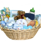 Deluxe Baby Gift Basket - BLUE for BOYS - Great Shower Gift Idea for Newborns