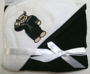 NEW!! SOFT BABY BLANKET BLACK & WHITE WITH EMBROIDERED U.S. NAVY TEDDY BEAR LOGO