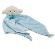 Blue Baby Boy Security Blanket with White Lamb Head