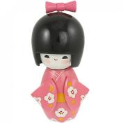 Amico Bowtie Decor Smiling Girl Pink Kimono Japanese Kokeshi Doll Wooden Toy