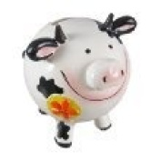 Round Black / White Spotted Dairy Cow Coin Bank