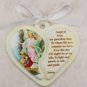 Guardian Angel Heart Crib Medal with White Ribbon infant gift communion baptism great gift