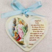 Guardian Angel Heart Crib Medal with Pink Ribbon infant gift communion baptism great gift