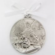 Guardian Angel Crib Medal White Ribbon Round 2 3/4 Great Gift