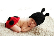 Eozy Baby Newborn Boy Girl Ladybug Crochet Cotton Knit Aminal Beanie Cap Hats Nappy Cover Costume Set Photography Photo Prop