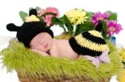 Eozy Baby Newborn Boy Girl Honeybee Crochet Cotton Knit Aminal Beanie Cap Hats Nappy Cover Costume Set Photography Photo Prop