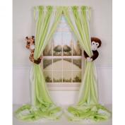 Curtain Critters Plush Jungle Safari Giraffe and Chocolate Monkey Curtain Tieback, Car Seat, Stroller, Crib Toys Collector Set