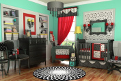 10PC BLACK WHITE & RED CRIB NURSERY BEDDING SET UNIQUE [Baby Product]