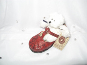 """Boyds Babay Collection Prissy """"Big Girl Shoe"""" Plush White Mini Bear and Red Mary Jane Style Shoe"""