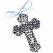 10.2cm Pewter Baptism Bless The Child Guardian Angel Cross Crib Medal for Boy