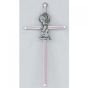 15.2cm Pink Silk Screen Baby Girl Wall Cross Great Shower Baptism or Christening Gift
