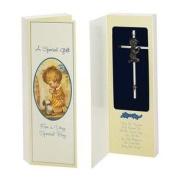 Elegant Baby Metal Baptism Cross - Boy