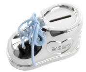 Boys Girls Baby Bootee Silver Plated Money Box Christening Gift