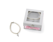 Mud Pie Baby Classic Keepsakes Cultured Pearl Bracelet with Cross,