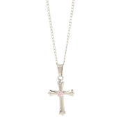 Elegant Baby Sterling Silver Baby Shower, Christening or Baptism Gift Baby's First Cross Necklace with Single Pink Cubic Zirconia