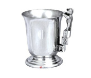 Pewter Childs Christening Cup ABC 123 Teddy Handle Tankard