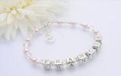 Open Heart Christening Name Bracelet
