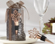 """Lustrous Leaf"" Copper-Finish Bottle Stopper in Laser-Cut Leaf Gift Box - Baby Shower Gifts & Wedding Favours"