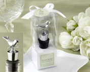 """Lovebirds"" Chrome Bottle Stopper - Baby Shower Gifts & Wedding Favours"