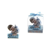 "Lunaura Baby Keepsake - Set of 30.5cm Boy"" Baby Sitting on Pillow Holding Bottle Favours - Blue"