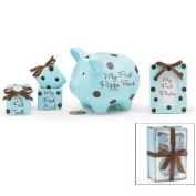 Baby Boy 4 Piece Keepsake Gift Set With Piggy Bank, First Tooth Box,First Curl Box and Photo Frame