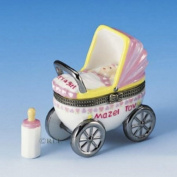 Mazel Tov Baby Girl Hinged Box Carriage with Baby Bottle Treasure