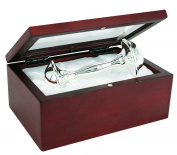 Stephan Baby Satin-Lined Rosewood Keepsake Box with 10.2cm Silver Plated Keepsake Rattle
