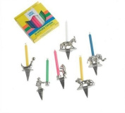 Pewter Birthday Candleholders - 6 Circus Characters : Pink