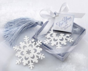 """Snowflake"" Bookmark with Silver Finish and Elegant Ice-Blue Tassel - Baby Shower Gifts & Wedding Favours"
