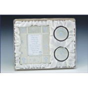 Baby Boy Picture Frame Keepsake Blue Silver Gift Set w/ Frame 2 Keepsake Box