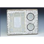 Baby Boy Picture Frame Keepsake Blue Silver Gift Set w/ Frame 2 Keepsake Box