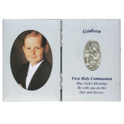 First Holy Communion Godson Gift 5 x 7 Silver Plate Picture Photo Keepsake Folding Plaque