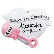 8371 Baby Rattle Heart Pink Hand Personalised Christmas Ornament